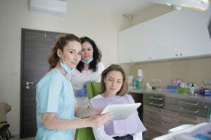 Woman at consultation for dental bonding